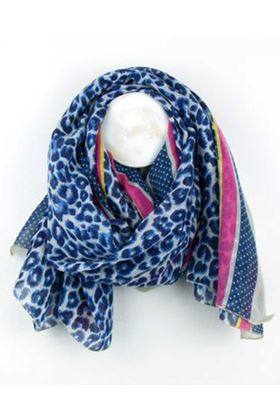 Picture of POM Animal Print and Stripe Scarf