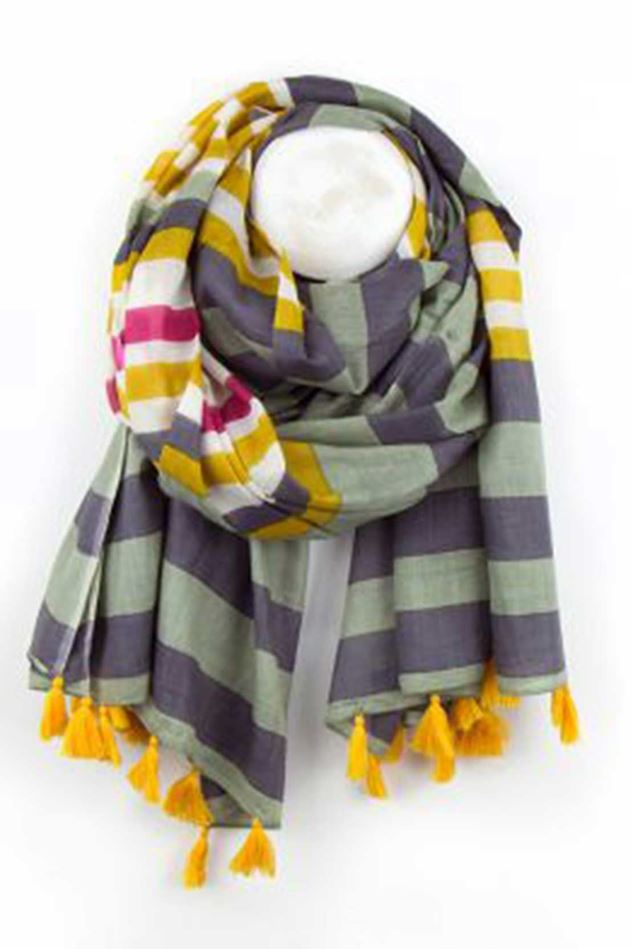 Picture of POM Olive Green And Mustard Stripe Cotton Scarf