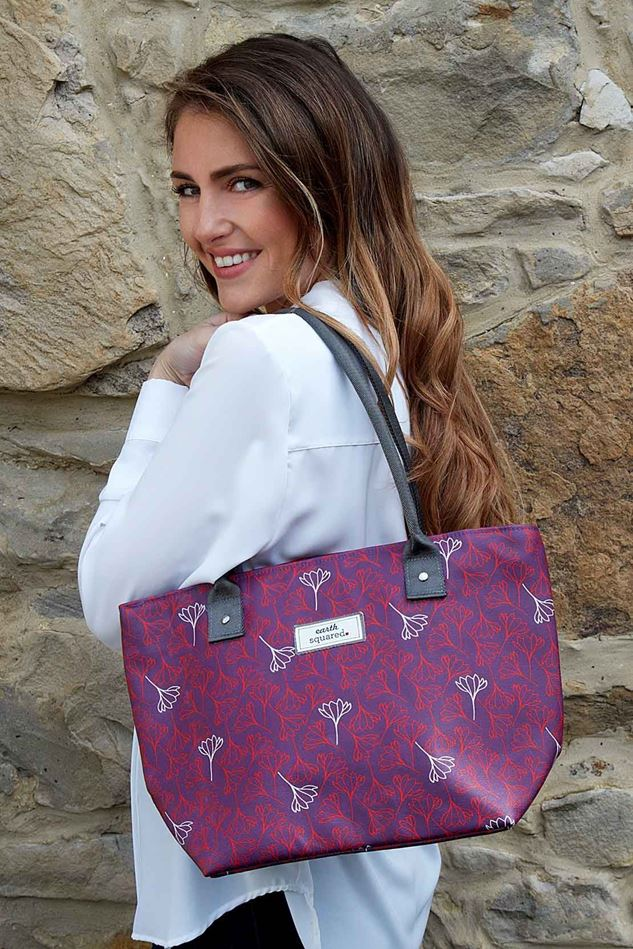 Picture of Earth Squared Aubergine Flower Tote Bag