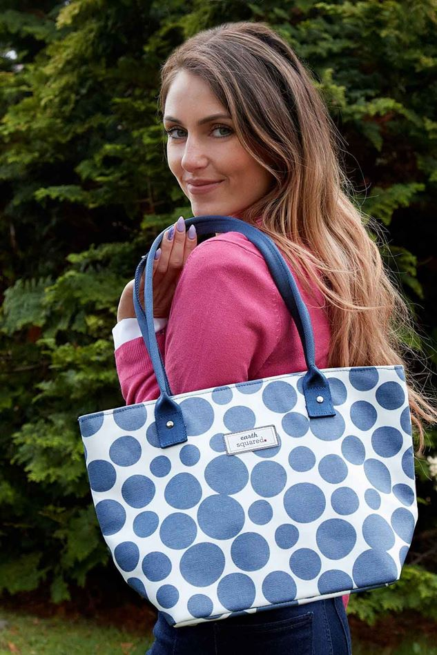 Picture of Earth Squared Blue Spot Oil Cloth Tote Bag