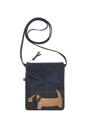 Picture of Earth Squared Sausage Dog Animal Applique Sling Bag