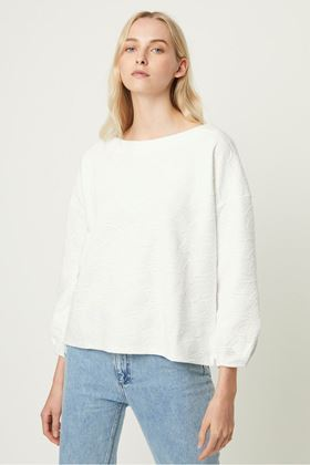 Picture of French Connection Sicily Textured Jersey Balloon Sleeve Top