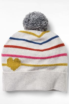 Picture of White Stuff Heart and Stripe Pom Pom Hat