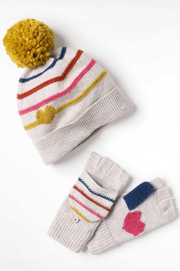 Picture of White Stuff Kids Heart & Stripe Hat & Mitt Set