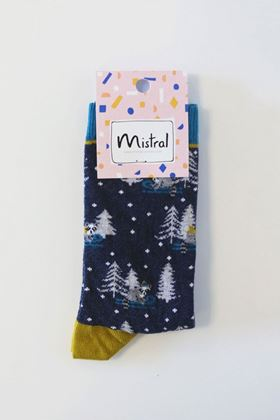 Picture of Mistral Raccoons On Sledges Sock in Navy