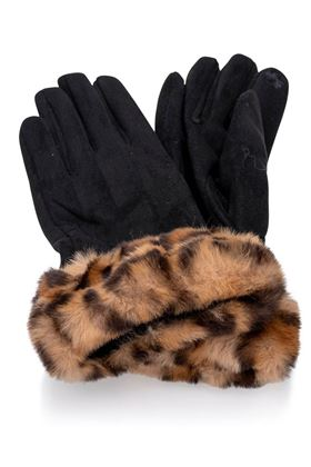 Picture of Franchetti Bond Martina Leopard Fur Trim Gloves