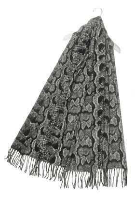 Picture of Snakeskin Print Wool Tassel Scarf