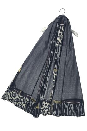 Picture of Chain & Buckle Leopard Print Border Wool Scarf