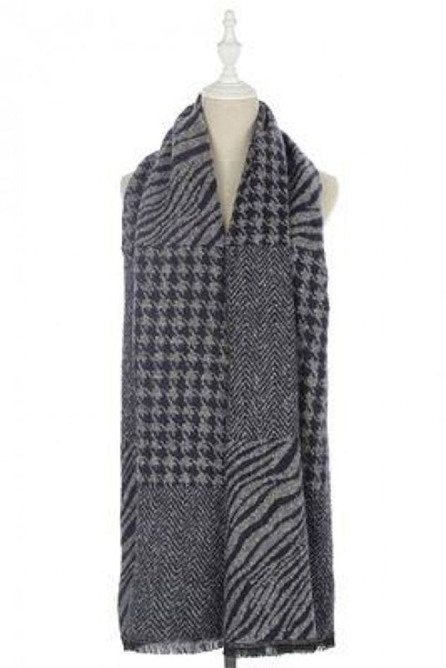 Picture of Houndstooth and Zebra Print Frayed Scarf