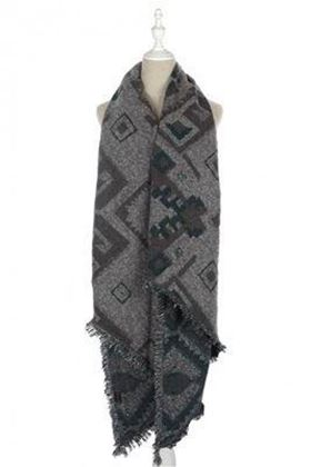 Picture of Aztec and Diamond Print Frayed Scarf