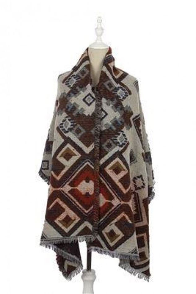 Picture of Reversible Aztec Print Frayed - Wrap