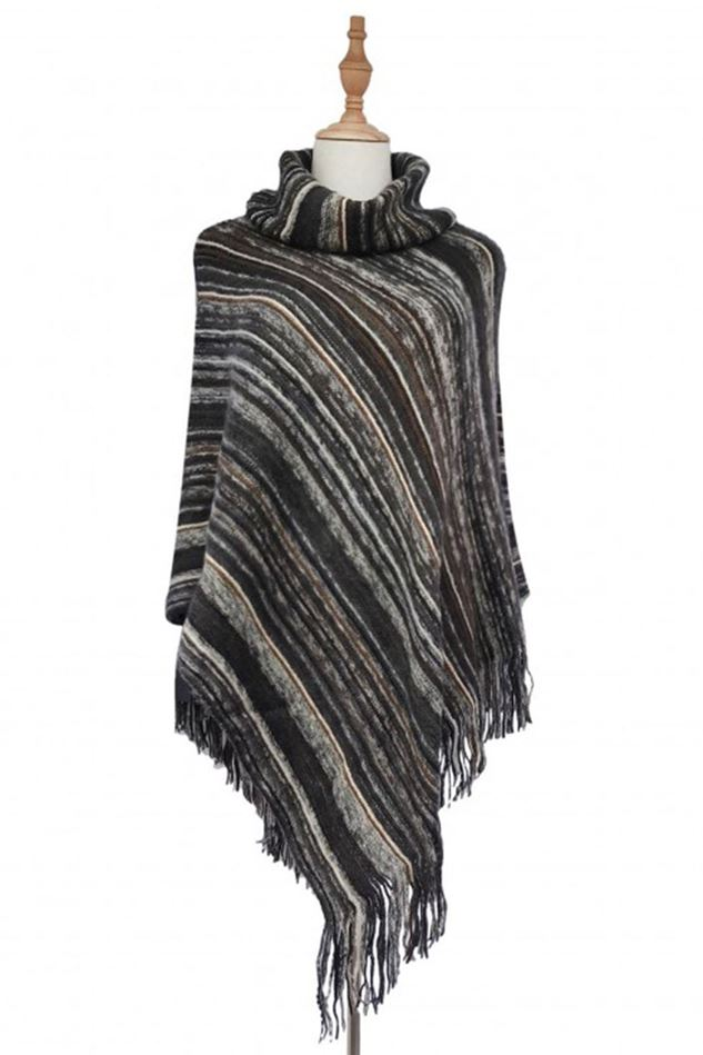 Picture of High Roll Neck Knitted Stripe Tassel Poncho
