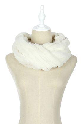 Picture of Plain Faux Fur Stripe Twist Snood