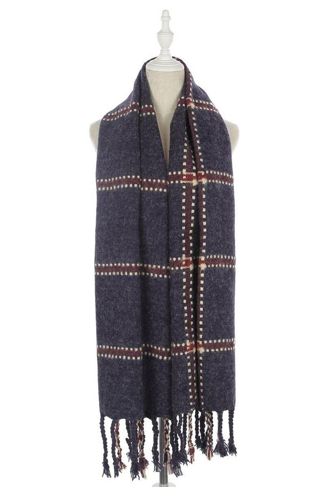 Picture of Bold Stitches Check Print Frayed Scarf