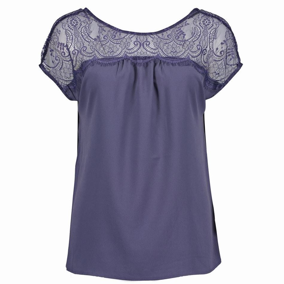 Picture of French Connection Crepe Lace Mix V Back Top