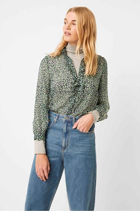 Picture of French Connection Cade Crinkle Ruffle Neck Blouse