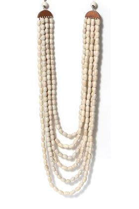 Picture of Envy Jewellery Cream Wooden Multi Layer Necklace