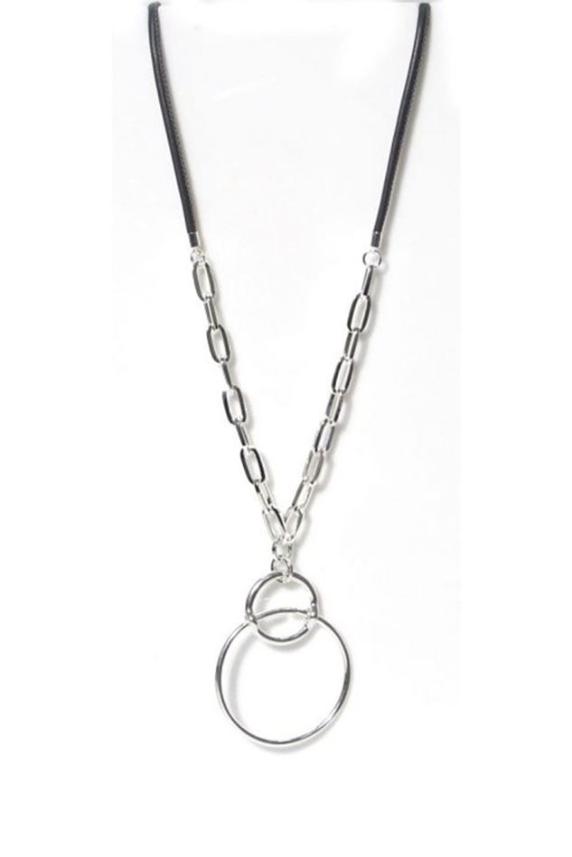 Picture of Envy Jewellery Long Silver Necklace with Grey Cord