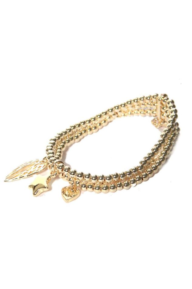 Picture of Envy Jewellery Triple Layered Gold Charm Bracelet