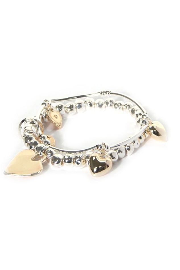 Picture of Envy Jewellery Two Tone Heart Charm Bracelet