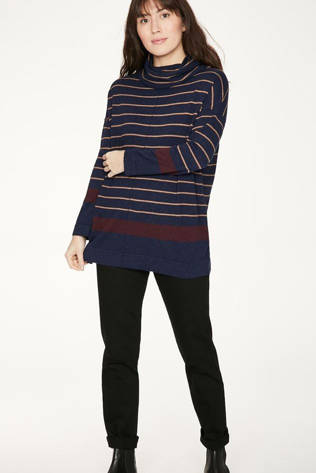 Picture of Thought Emery Organic Cotton & Wool Striped Roll Neck Jumper