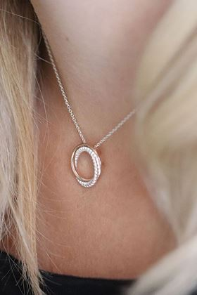 Picture of Pom Sterling Silver twist and rose gold hoop necklace