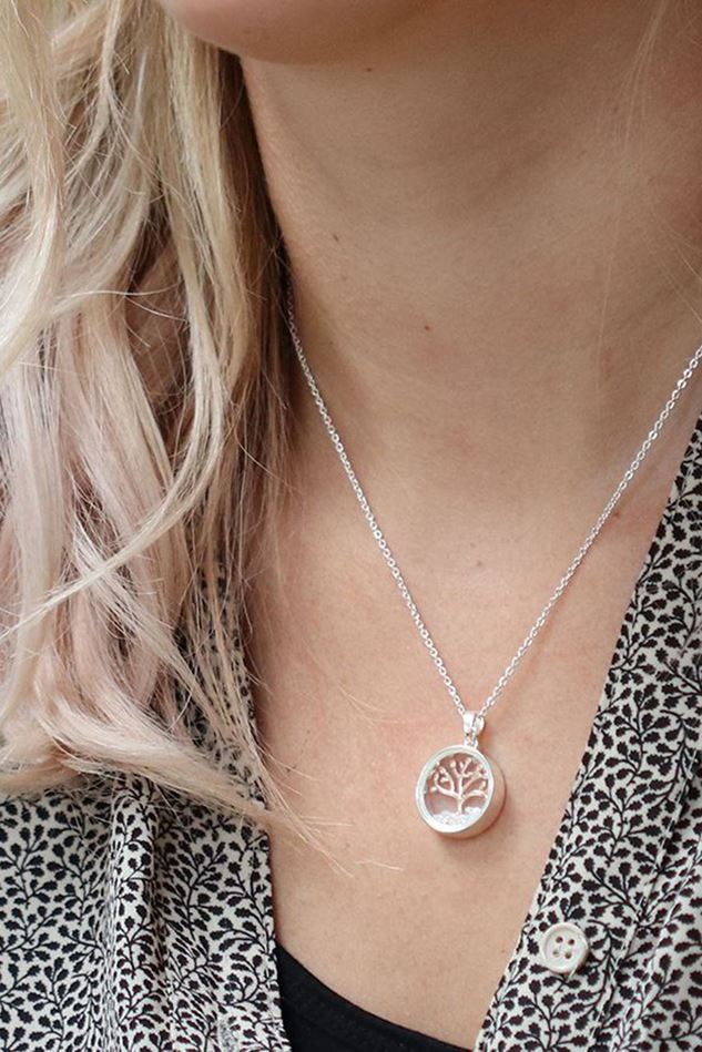 Picture of Pom Circle Frame Necklace with Rose Gold Tree & Crystals