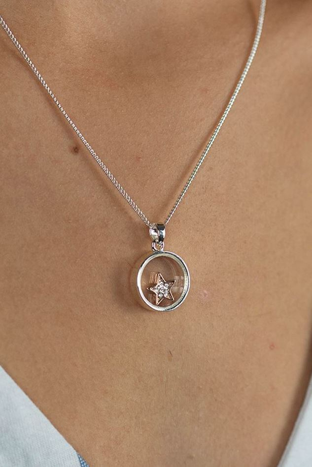 Picture of Pom Silver Plated Circle Frame Crystal Star Necklace