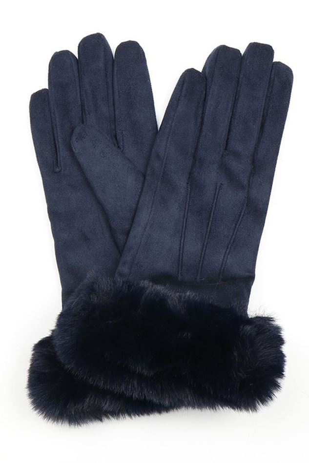 Picture of Pom Navy Faux Suede Gloves with Fur Trim