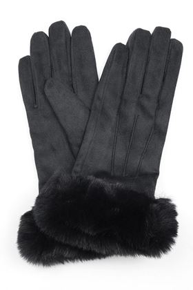 Picture of Pom Black Faux Suede Gloves with Fur Trim