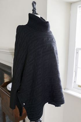 Picture of Miss Sugar Cable Polo Neck Button Poncho