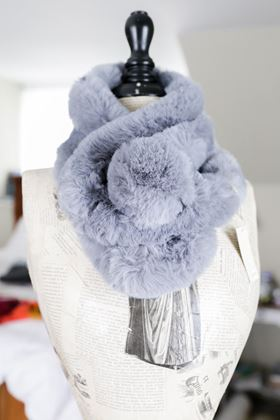 Picture of Lua Faux Fur Grey Pom Pom Scarf