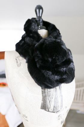 Picture of Lua Black Faux Fur Pom Pom Scarf