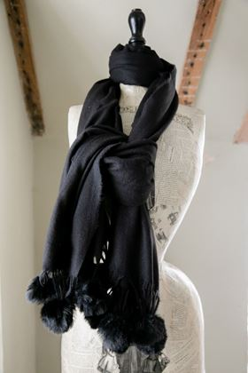 Picture of Pom Pom Wool Mix Scarf