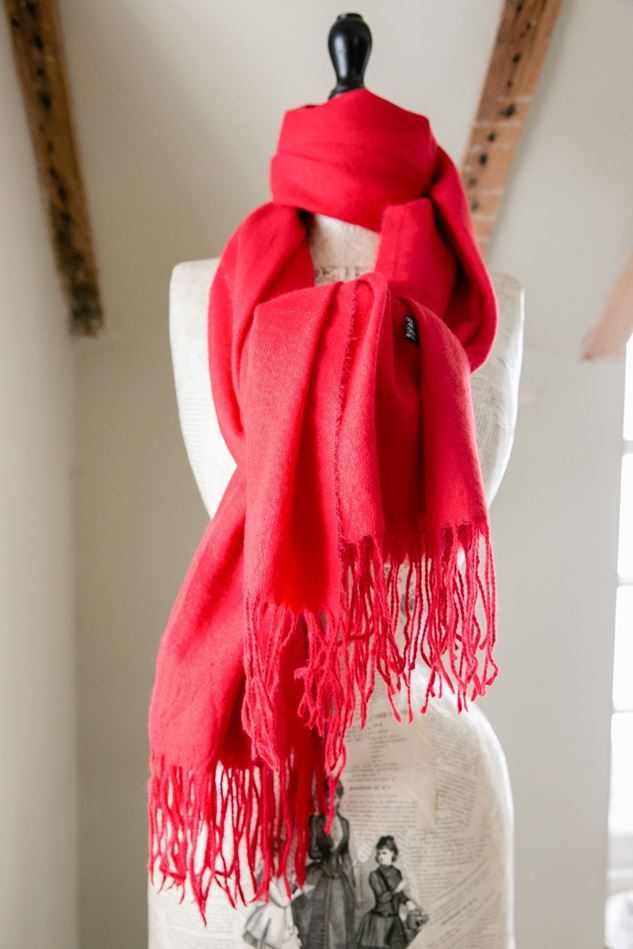 Picture of Plain Wool Mix Tassel Scarf