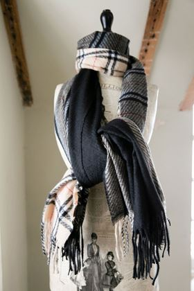 Picture of Checked and Stripe Burberry Style  Scarf