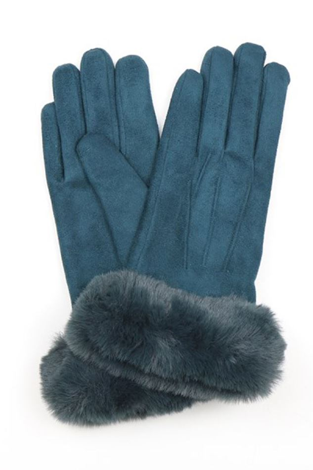 Picture of Pom Teal Faux Suede Gloves with Fur Trim
