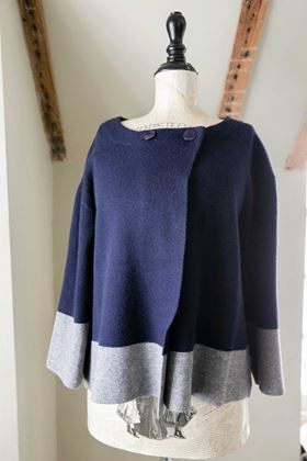 Picture of Miss Sugar Colour Block Cardigan - Navy/Grey