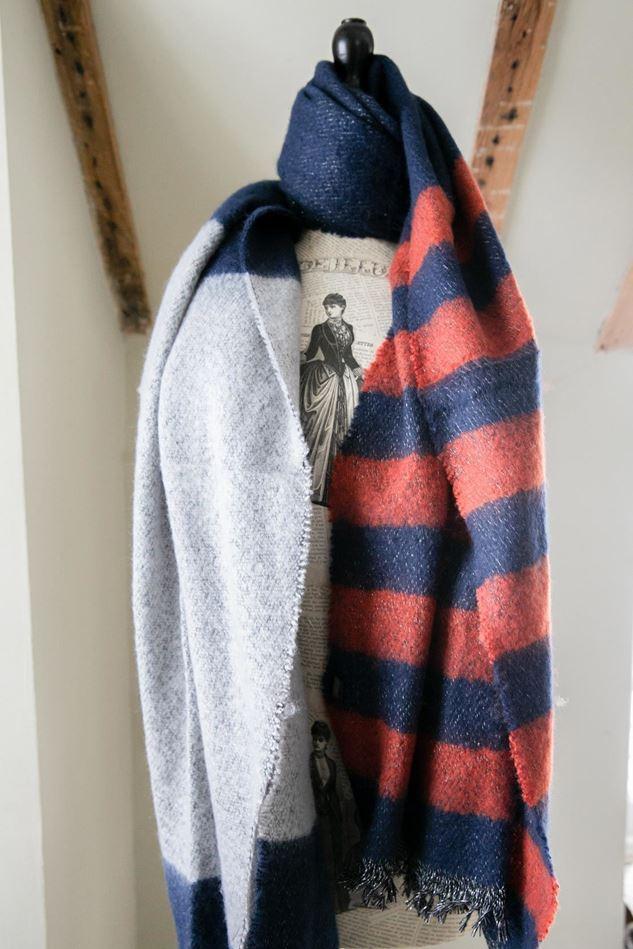 Picture of Cosy Stripe Blanket Scarf - Navy/Grey/Orange