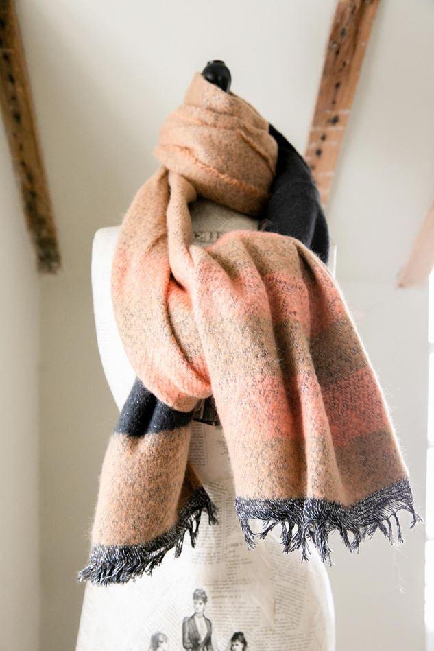 Picture of Cosy Stripe Blanket Scarf - Black/Tan/Orange