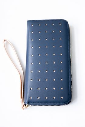 Picture of Pom Navy Faux Leather & Rose Gold Star Purse