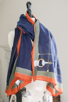 Picture of Block Colour & Chain Print Scarf