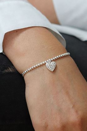 Picture of Pom Silver Plated Bracelet with Crystal Inset Heart