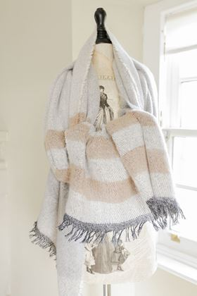 Picture of Cosy Stripe Blanket Scarf - Pale Grey/Tan