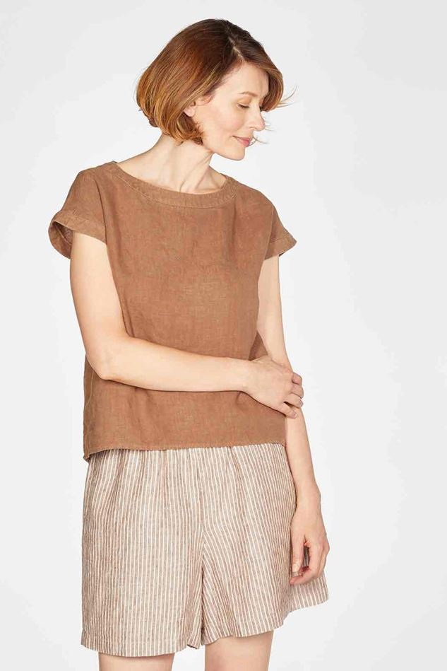 Picture of Thought Erin Woven Hemp Short Sleeve Top