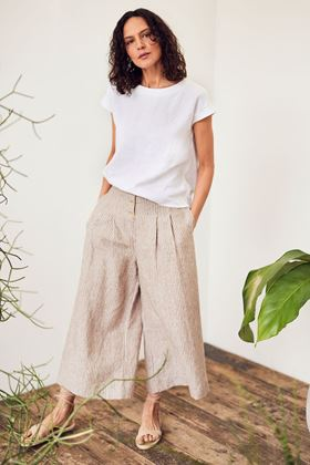 Picture of Thought Isobel Yarn Dye Stripe Hemp Culottes