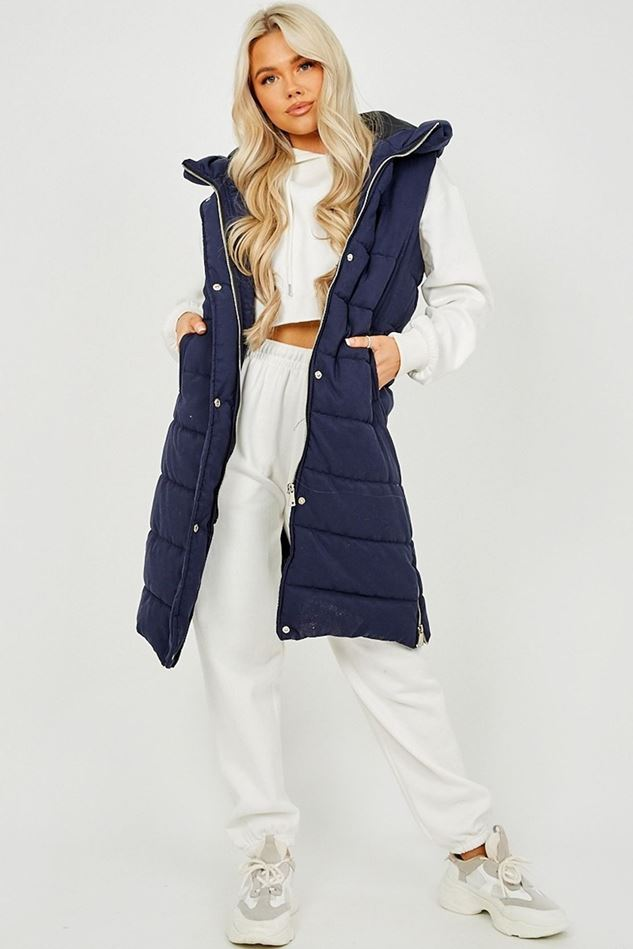 Picture of Longline Padded Hooded Gilet