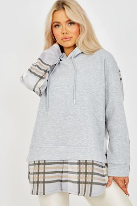 Picture of Check Detail Fleece Hoodie