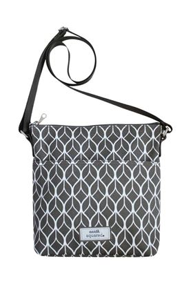 Picture of Earth Squared Grey Geometric Oil Cloth Messenger Bag