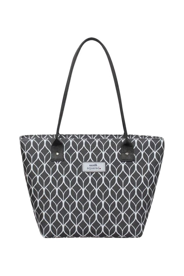 Picture of Earth Squared Grey Geometric Oil Cloth Tote Bag